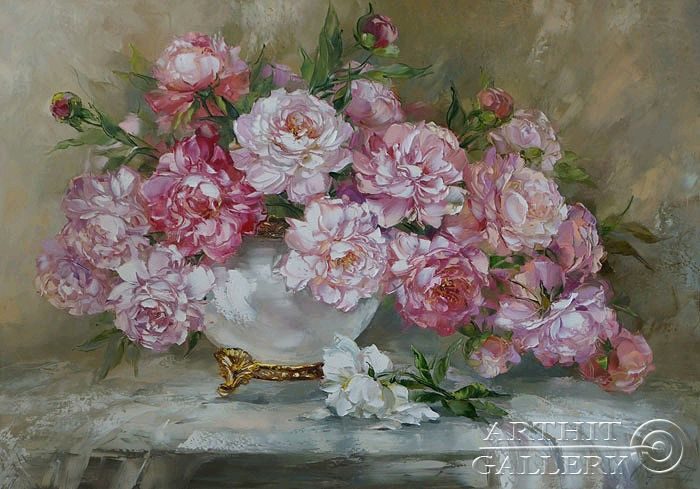 Oksana Art #Still life #Bouquet of peonies