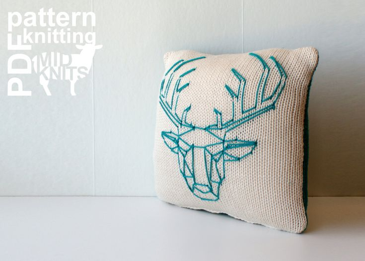 """Midknits: DIY Knitting PATTERN - Origami Stag Head Stockinette Throw Pillow - 12"""" Square (2016012) by Erin Black"""