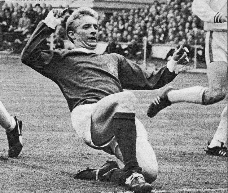 25th May 1963. Manchester United inside forward Denis Law in action against Leicester City, in the FA Cup Final.