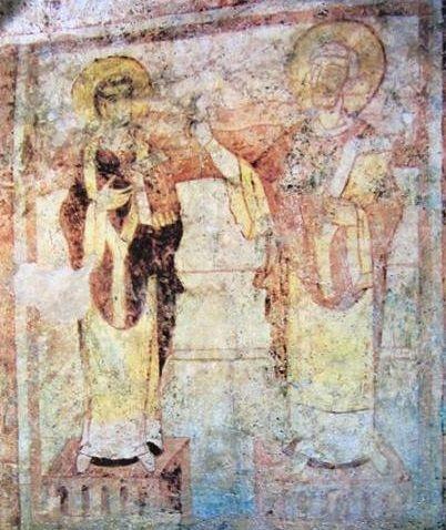 Auxrre crypte de l 39 ancienne abbatiale saint germain mi ix tableau encadr pr sentant deux for Peinture a l ancienne