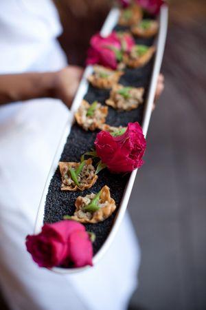 Plating Idea: put canapes on something eatable like black sesame seeds. #fingerfood #shopfesta