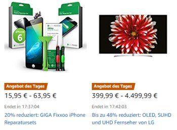 Amazon: OLED- und UHD-TVs von LG für einen Tag rabattiert https://www.discountfan.de/artikel/technik_und_haushalt/amazon-oled-und-uhd-tvs-von-lg-fuer-einen-tag-rabattiert.php Für einen Tag sind bei Amazon ausgewählte OLED-, SUHD- und UHD-Fernseher von LG reduziert im Angebot – insgesamt bietet der Onlineshop sieben verschiedene Modelle ab 399,99 Euro an. Amazon: OLED- und UHD-TVs von LG für einen Tag rabattiert (Bild: Amazon.de) Die TVs von LG mit Rabatt sind...