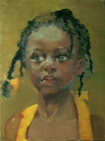 "Kim Roberti (American): title unknown [one yellow bow, many braids], 5""x7"", oil on gesso board; Contemporary Realism Figurative. ""Would be interested in buying this one from owner!"" ~js"