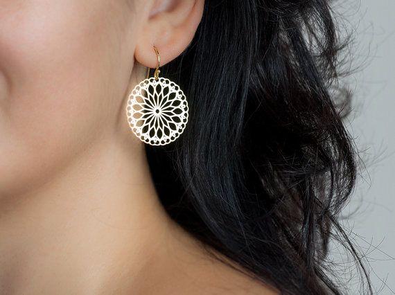 Lace Earrings Chandelier Earrings Mandala Jewelry Sterling Silver Statement Flower dangle Minimal Earring Christmas gift Womens Yoga earring