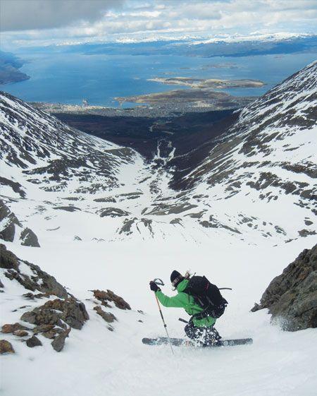 Claire Smallwood of SheJumps skiing a glacier in Ushuaia, Argentina. - Skiis & Biikes Magazine