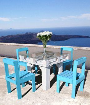 set da esterni tavolo e sedie in pallet di recupero