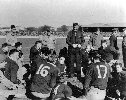 1943 - US Marines take on a local army team in a game of rugby at Athletic Park in wellington