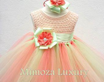 VENTA menta Coral melocotón flores vestido de niña, vestido coral, vestido de Dama de honor, vestido de la princesa de la menta, tul top de ganchillo, dre tutu tejido a mano