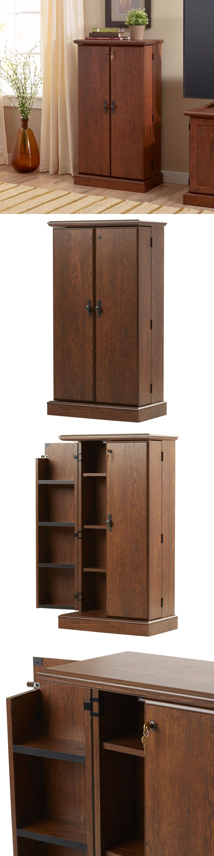 Cd And Video Racks 22653: Media Storage Cabinet With Doors Multimedia Home Dvd  Shelves Tower