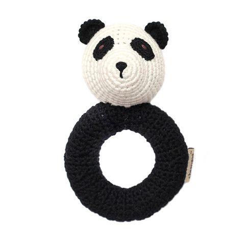 Cheengoo Panda Ring Rattle Black and White