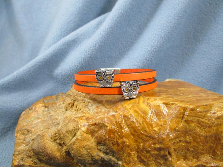2 Strand Orange 5mm Flat Leather Bracelet 2 Silver Owl Sliders with Crystal Eyes and Magnetic Clasp by Loopsandlyricscrafts on Etsy