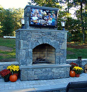 Awesome way to watch the ball gamesOutdoor Tv, Dreams Ideas, Awesome Outside Games, Backyards Parties, Outdoor Living Fireplaces, Google Search, Ball Games, Fireplaces Ideas, Outdoor Fireplaces
