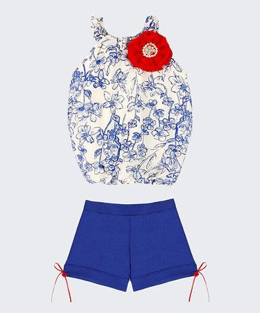 This Ivory Floral Cindy Top & Royal Blue Shorts - Toddler & Girls is perfect! #zulilyfinds