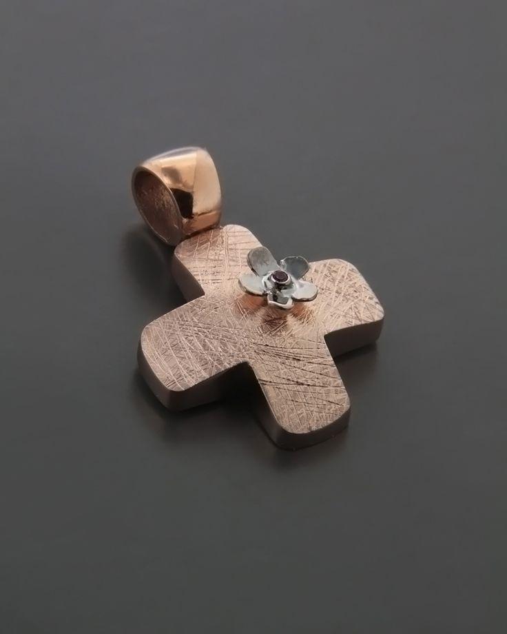 Σταυρός βάπτισης ροζ χρυσός & λευκόχρυσος Κ14 με Ζιργκόν