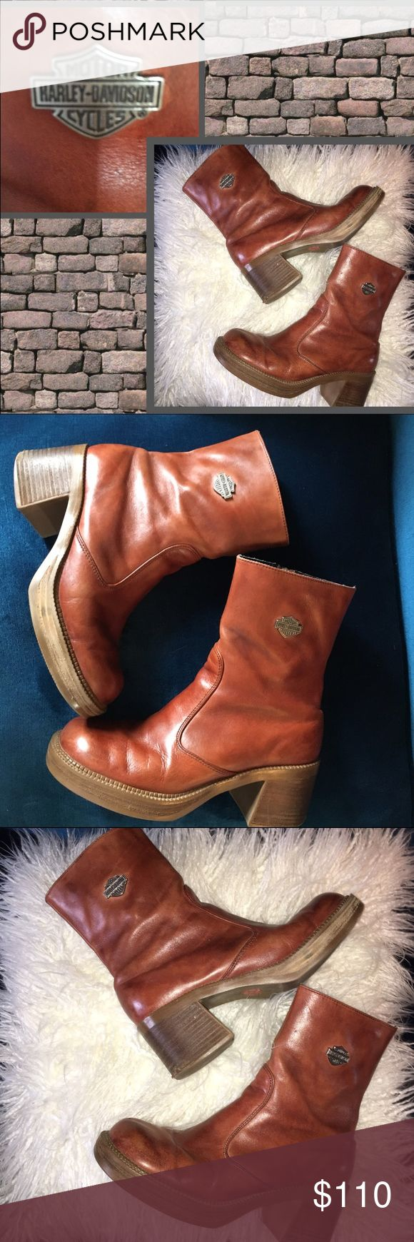 """HARLEY DAVIDSON WOMENS BIKER BOOTS 🕶RARE🕶Harley Davidson women's leather 100% Authentic biker boots. These vintage indestructible the way boots should be constructed amazing soft leather HD logo on outside of boots, 2"""" wooden and leather heel, side zipper, left boot zipper is missing HD logo that hangs off zipper. (Pictured)  sure you could order one. Great condition (look better now than when new) brown cognac color. Rare find. Harley-Davidson Shoes Combat & Moto Boots"""