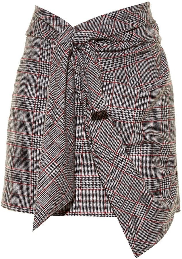 ISABEL MARANT Kim knot-front Prince of Wales-checked skirt