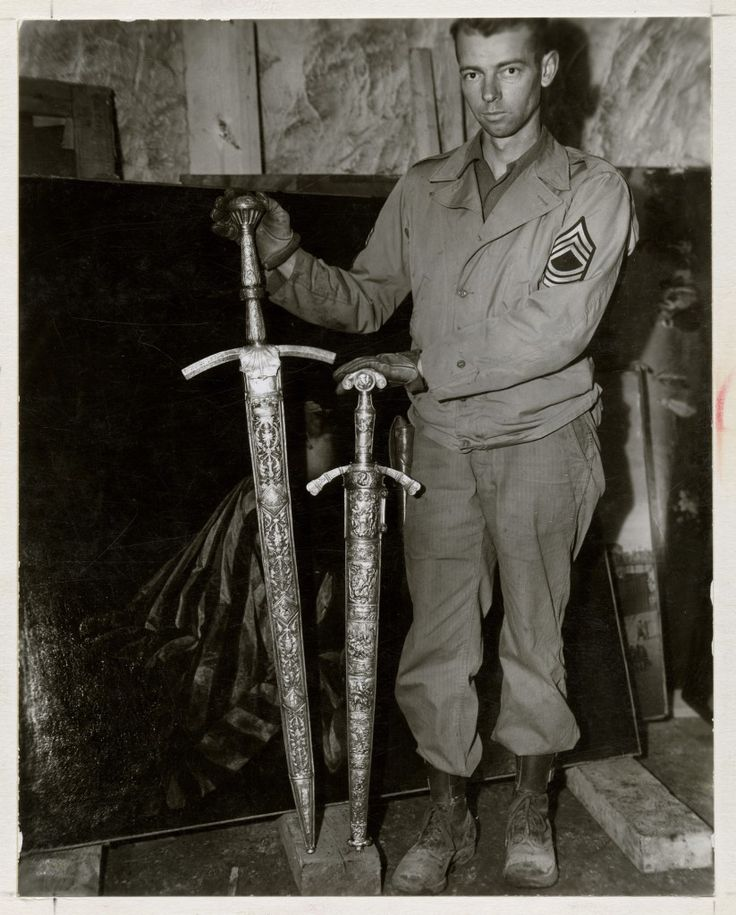 You won't see this in the Monuments Men movie - Two finely wrought swords of Frederick the Great. (National Archives, 239-PA-4-127-1)