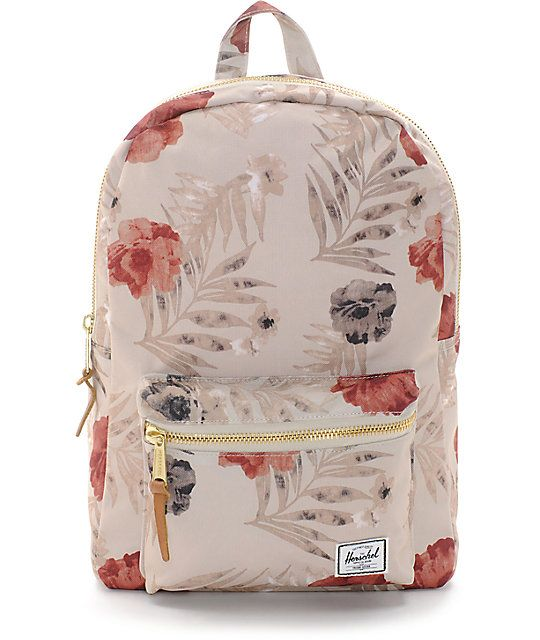 Carry your essential items with you in style. The Pelican Floral khaki backpack from Herschel features a large main storage compartment with a 13 inch laptop sleeve and a smaller front pouch with an interior key clip to keep your things organized.