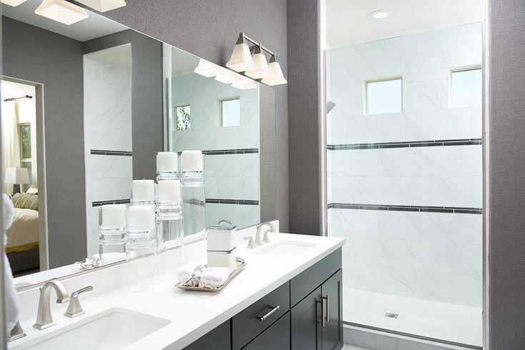 Candles add ambiance in this spa-like master bath | Paige model home | Las Vegas, Nevada | Richmond American Homes