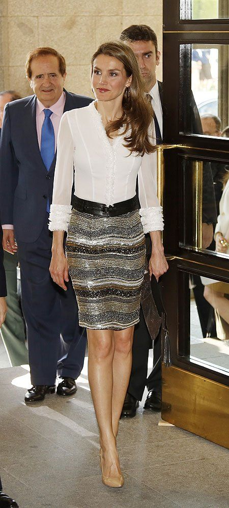 A sequinned skirt with a lovely white blouse makes for such an elegant combination.