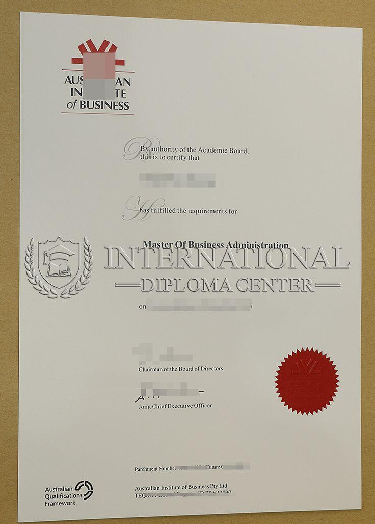 Australian Institute of Business degree certificate, AIB