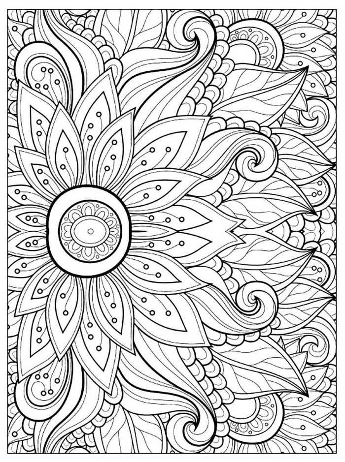 Flower Coloring Pages For Adults Printable Detailed Coloring Pages Mandala Coloring Pages Printable Flower Coloring Pages