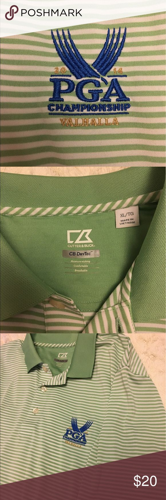 PGA golf shirt 2014 PGA tournament Valhalla golf shirt. Green and white stripes. NEVER WORN. Make an offer of bundle for a discount! I will model upon request if the item fits me. MOVING SALE! Everything must go! ☺ Shirts Polos