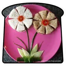 arte en comida para niños - flowers