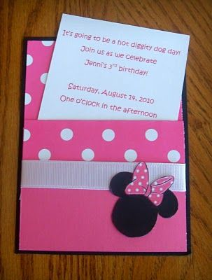 Minnie invites- use the same setup for mickey- different colors