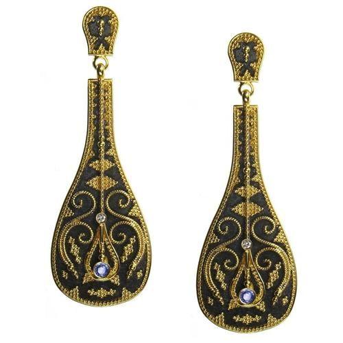 Damaskos 18k Black Gold Pandouris Lute Earrings. This and more handmande Greek jewelry available at Athena's Treasures. www.athenas-treasures.com/