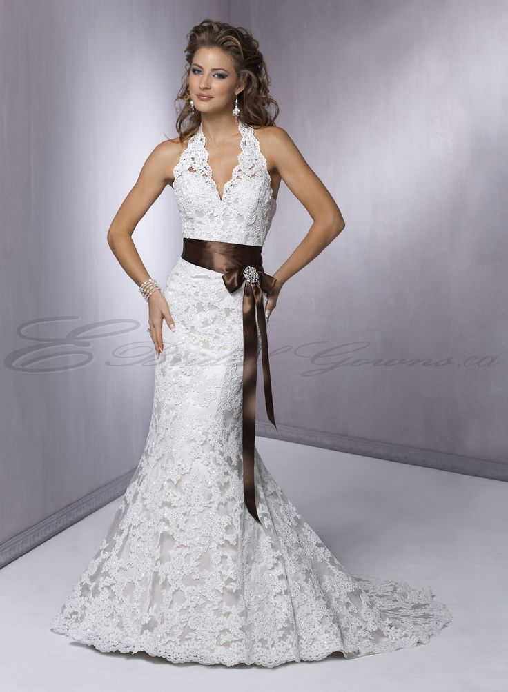 Fabulous Satin Mermaid Halter Neckline Lace Appliqued Bodice Wedding Dress