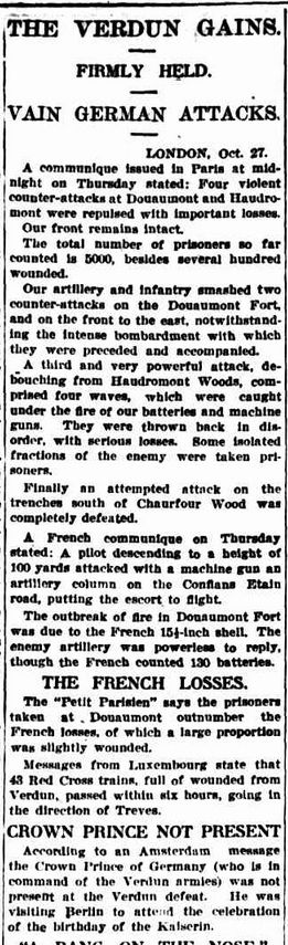 """WWI, 28 Oct 1916: """"Defeat Verdun-Crown Prince absent,   birthday party"""" -The Sydney Morning Herald"""