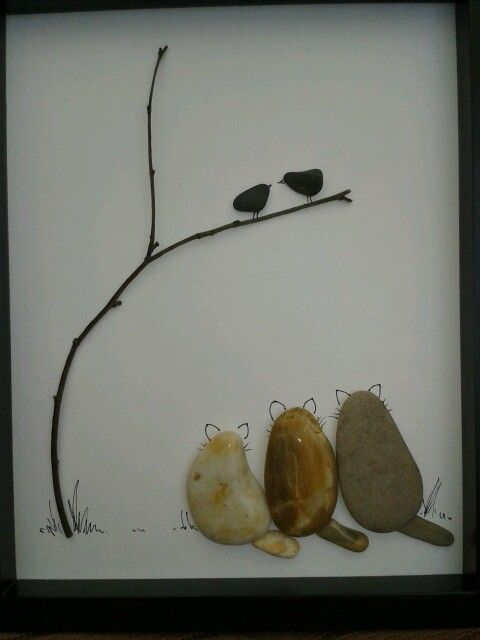 Stone art image... Cute! Something to do with the fist fills of stones we seem to bring home!