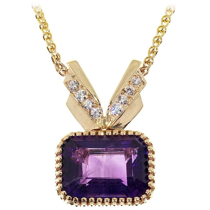 Amethyst Diamond Gold Pendant Necklace - Beautiful deep, bright purple Amethyst in a handmade frame with Diamond top. Complete with wheat chain. Amethyst is of fantastic color with moderate inclusions. 1 emerald-cut Amethyst approx. total weight 17.0cts; 8 round Diamonds approx. total weight .28cts, G, VS; 14k Yellow Gold Stamped: 14k 16.4 grams 1 1/16 x ¾ inches. Total length of chain and pendant: 20 inches. •$1,886.00