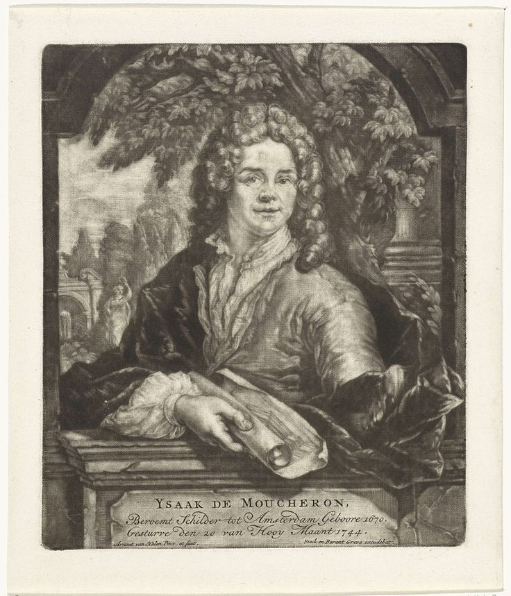 Arnoud van Halen | Portret van Isaac de Moucheron, Arnoud van Halen, Ysack Greve, 1744 | De schilder en architect Isaac de Moucheron in een venster voor een tuin. In de hand een opgerold papier.