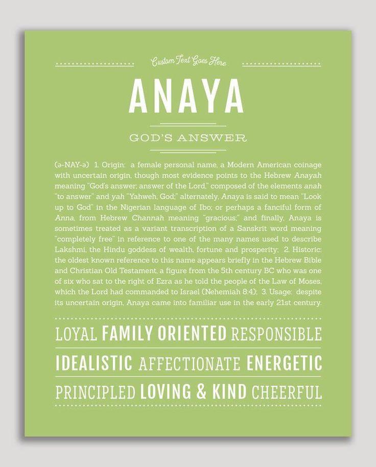 Anaya   Classic Name Print   Classic names, Personalized ...