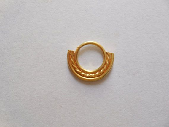 Unique Gold Filled Septum ring For Pierced Nose- Decorated indian nose ring- very cute nose hoop- Nose bali-Gold nose jewellry
