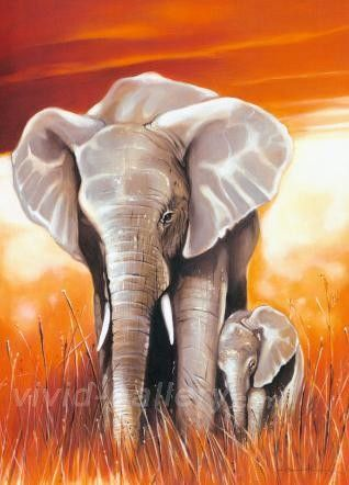 olifant schilderijen | africa landscape animals elephant 5 - African Landscape Oil Paintings ...
