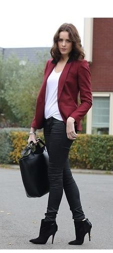 nice maroon jacket outfit ideas girls