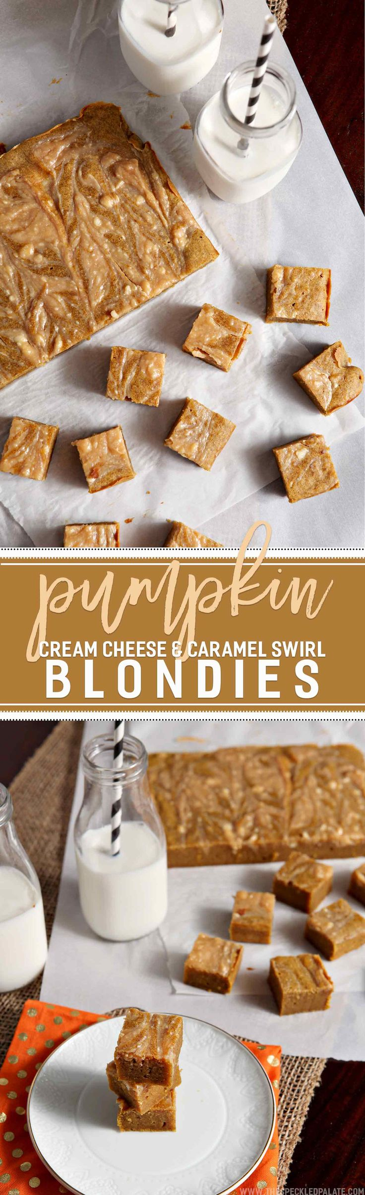 Surprise your family and friends by baking these seasonal Pumpkin Caramel Cream Cheese Swirl Blondies this year! A twist on a traditional blondie, these treats sing of pumpkin-flavored goodness. Pumpkin puree mixes into the blondie batter, along with traditional pumpkin spices, then the autumn flavors are punched up a notch with the swirling of Caramel Cream Cheese into the batter. These gooey-in-the-middle blondies make a delicious fall dessert!