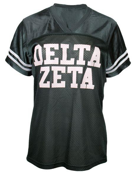 Delta zeta 77 football jersey by adam block design for Greek life shirt designs