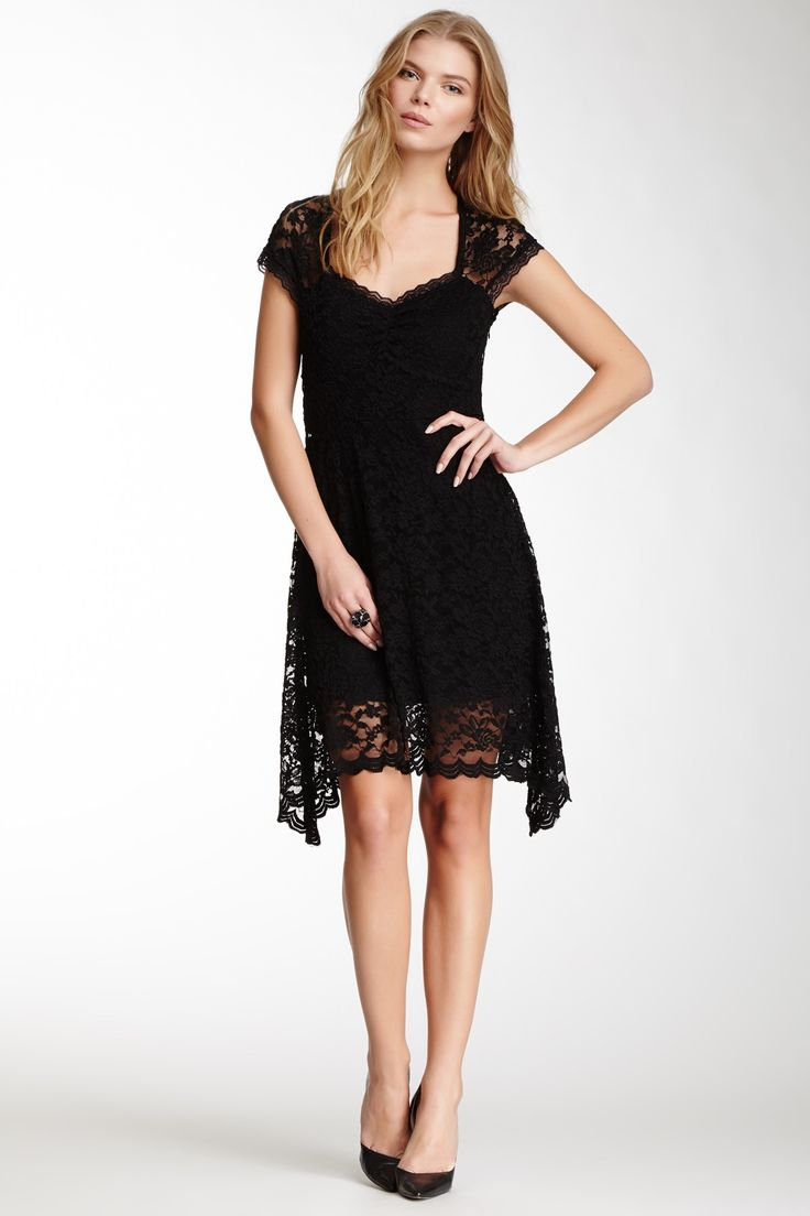 Kersh Cap Sleeve Lace Dress
