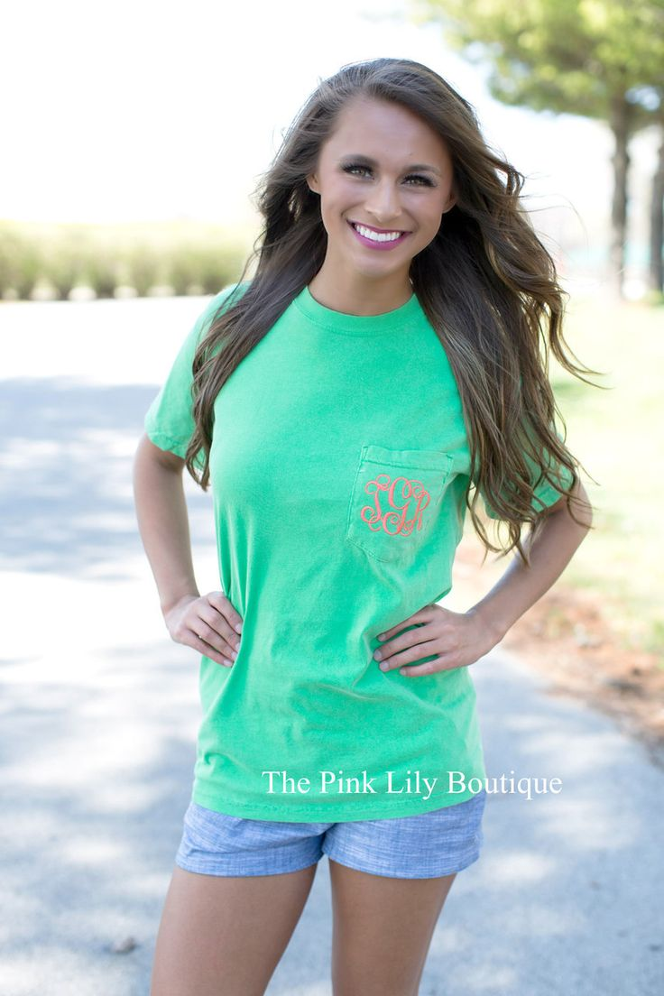 Comfort Colors Monogram Pocket Tee Green - The Pink Lily Boutique