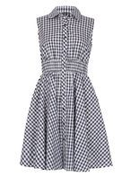 Womens *Izabel London Navy Gingham Country Shirt Dress- Navy