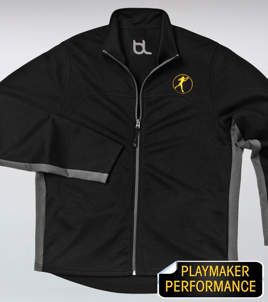 """Brand Legendary and Troy Polamalu Present the new Playmaker Icon Collection. The Playmaker Performance Lightweight Jacket features a double stitch chest seam, extreme moisture technology, weighs only 5.6 oz. is 100% Polyester and features a 2"""" by 2"""" Black and Gold embroidered Playmaker Icon on the front left chest."""