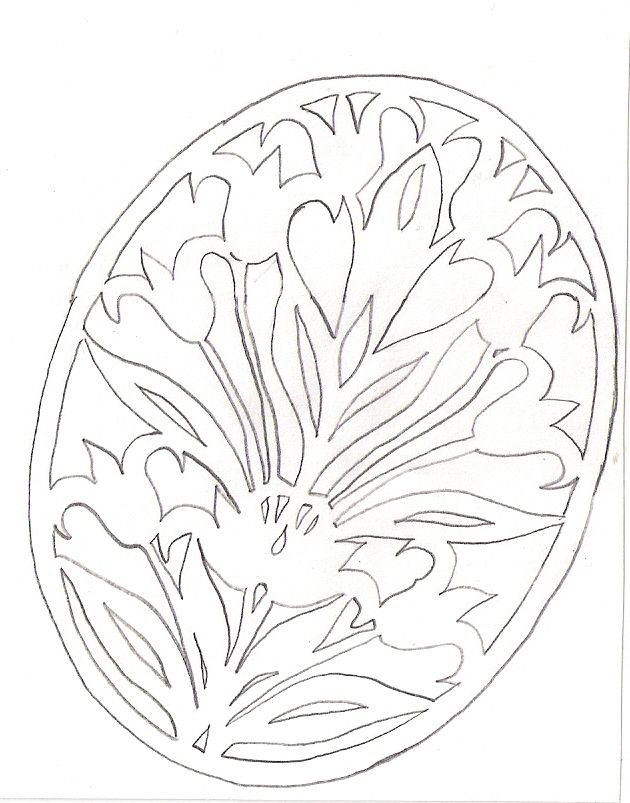 DIY: Floral egg. Free Paper craft; stencil/template/pattern.