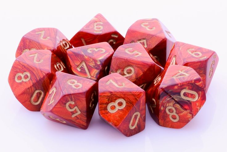 Scarab D10 Dice (Scarlet Red); 10 X D10 Dice Set