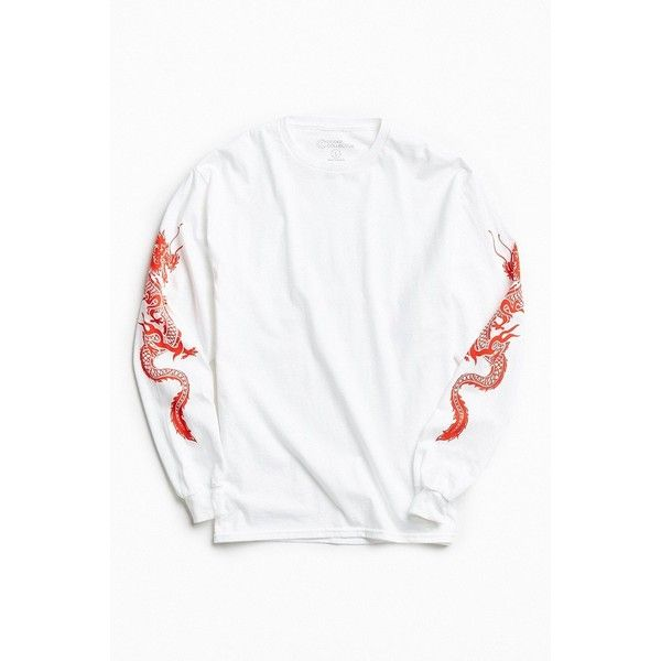 Dragon Sleeves Long Sleeve Tee ($38) ❤ liked on Polyvore featuring men's fashion, men's clothing, men's shirts, men's t-shirts, urban outfitters mens shirts, mens french cuff shirts, mens cotton t shirts, mens long sleeve graphic t shirts and mens base layer shirts