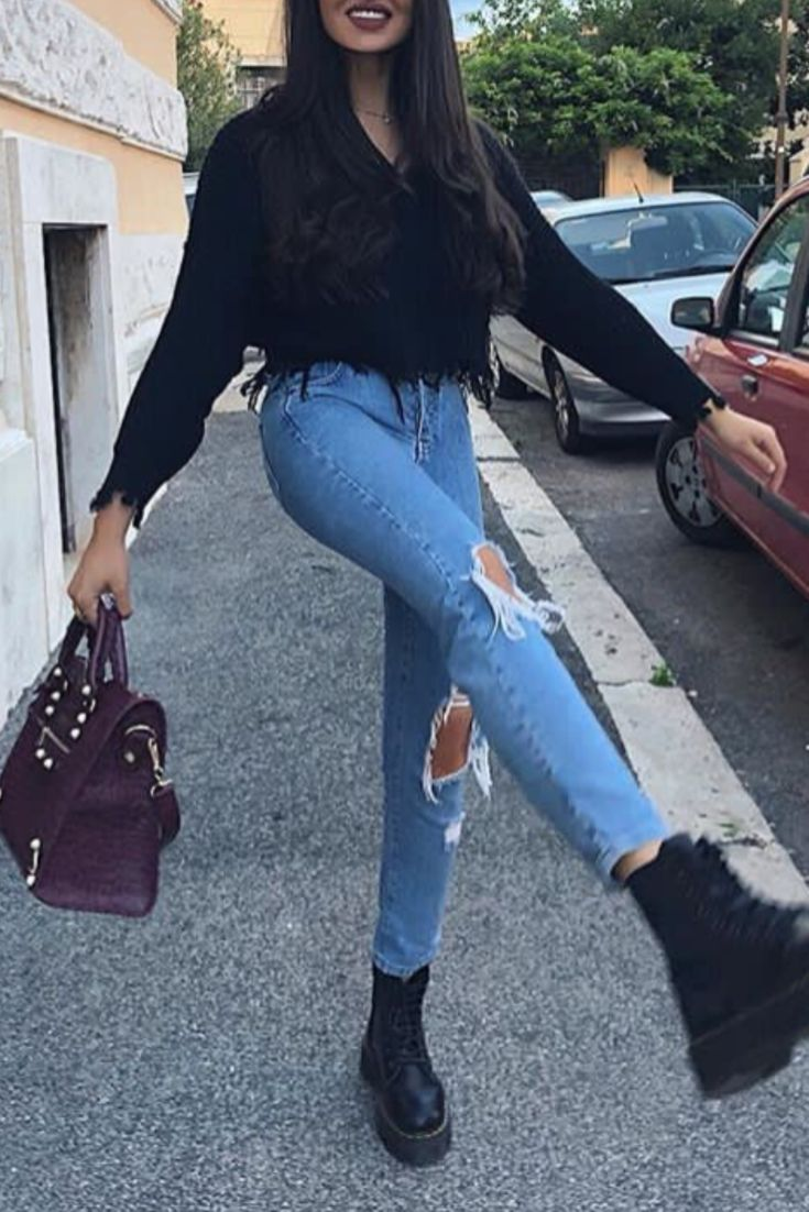 Fashion casual chic autumn / winter woman with jeans destroy, a black shirt and ... #autumn #casual #destroy #fashion #jeans