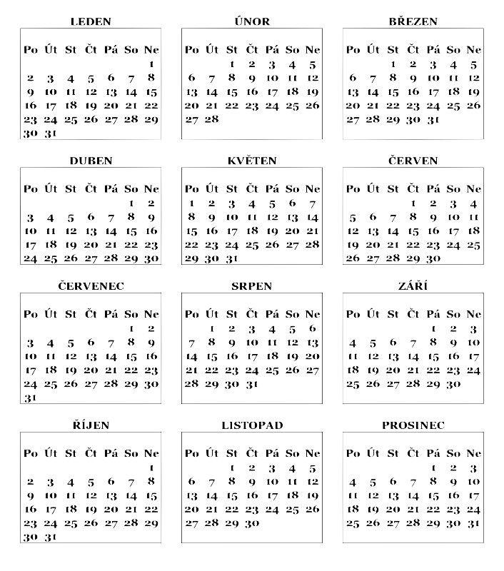 Číselník kalendáře 2017 celoroční | MarijaKes